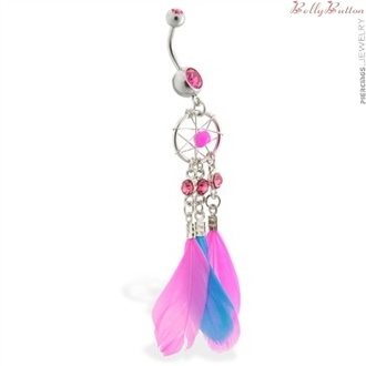 jewels pink blue stoned dreamcatcher belly button ring ring
