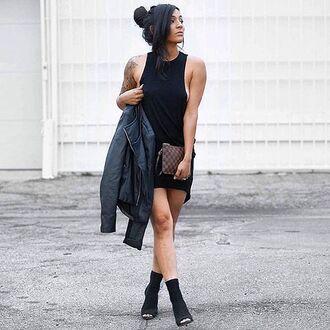 dress black dress ribbed knit dress little black dress casual dress muscle tank dress muscle tank top angl