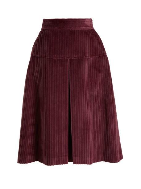 skirt midi skirt pleated high midi cotton burgundy