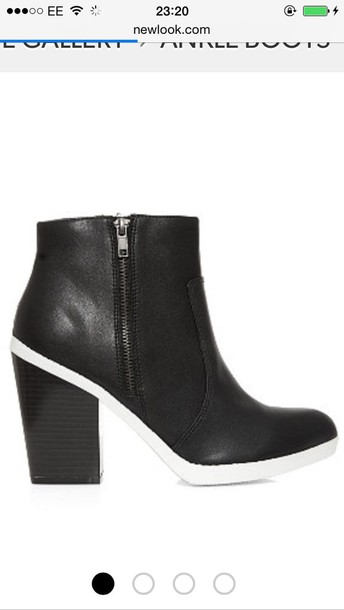 shoes boots ankle boots white sole block heel zip ankle boots