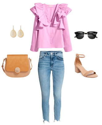 thebudgetbabe blogger top jeans shoes bag sunglasses jewels pink blouse blouse sandals mid heel sandals