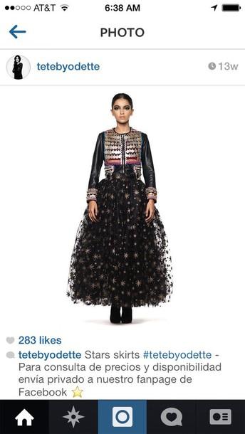 skirt tete by odette stars skirt black and gold