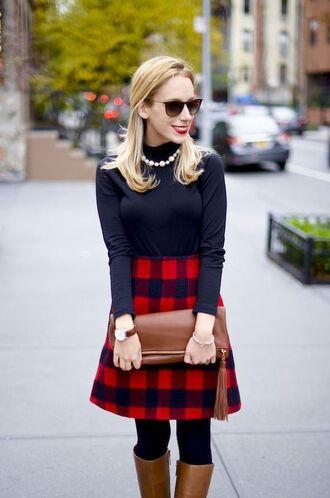 skirt long checkered skirt sunglasses black long sleeve shirt brown boots brown handbag blogger