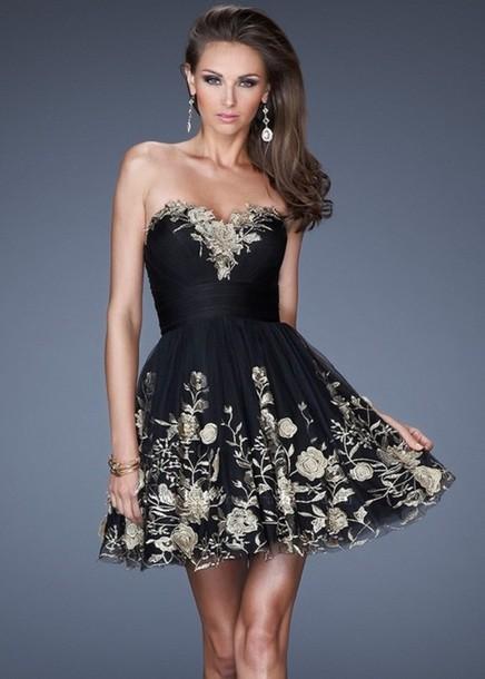 dress black prom short