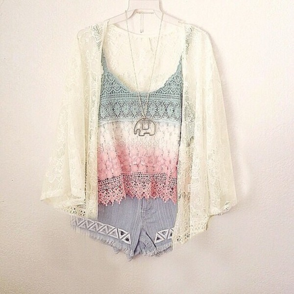 blouse tie dye colorful tank top hipster lace floral shorts cardigan sweater jeans denim shorts top flowy green mermaid sequins h&m summer outfits summer top boho clothes colorful cute girly jewels elephant pastel white