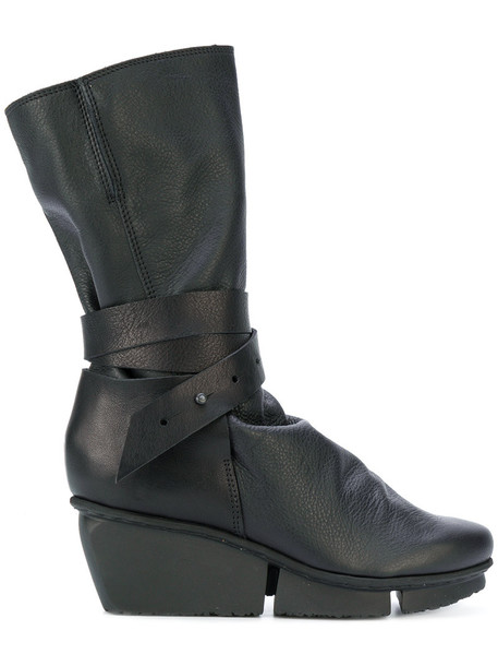Trippen women platform boots leather black shoes