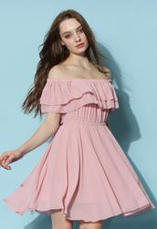 dress,chicwish,chicwish.com,off the shoulder,off the shoulder dress,frilling dress,pastel pink dress