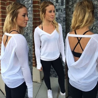 sweater pullover white open back love cute lulu lululemon lululemon athletica unity comfy