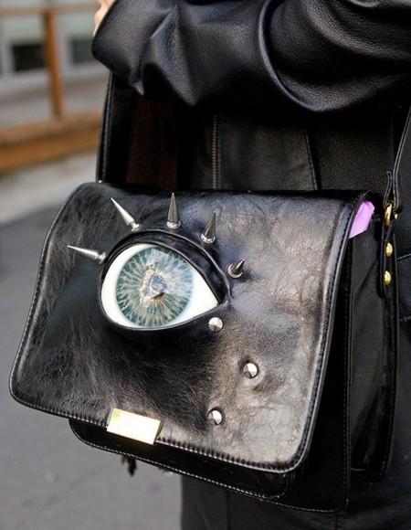 bag leather bag eye goth spikes dark grunge eyeball black leather nugoth alternative goth