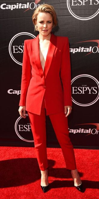 jacket red pants pants blazer rachel mc adams celebrity pointed toe pumps pumps