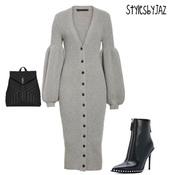dress,grey,knitted dress