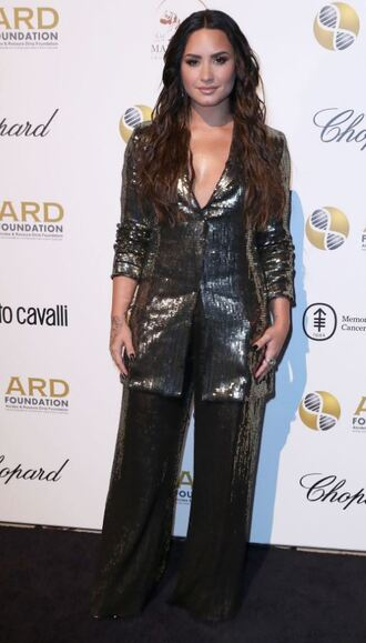 pants blazer demi lovato metallic nyfw 2017 ny fashion week 2017 suit wide-leg pants sequins jacket