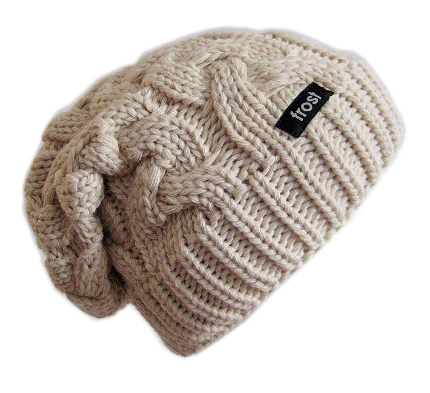 19d27df5 Warm Chunky Soft Slouchy Beanie Cable Knit SKully Hat Frost Hats M 179  Beige at Amazon ...