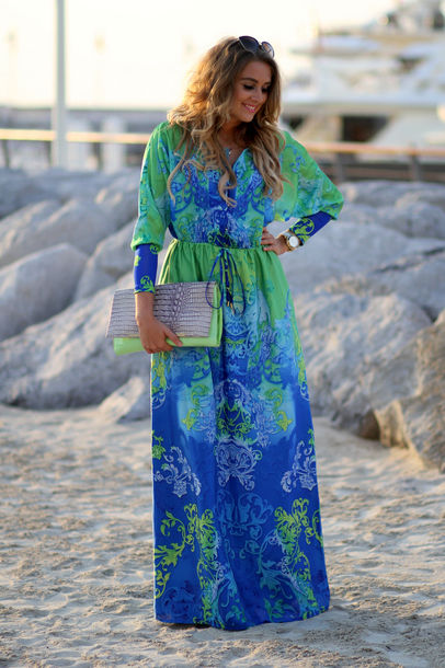 Dress: long sleeves, blue, blue dress, long, floral, baroque, maxi ...