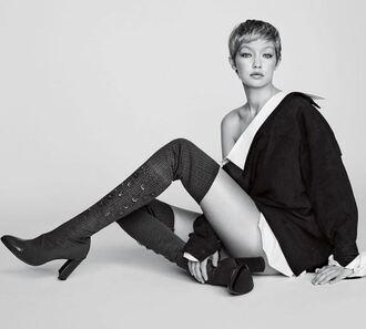 shoes boots over the knee over the knee boots gigi hadid model editorial