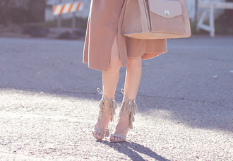 cocorosa blogger fringe shoes nude sandals all nude everything fall accessories suede bag