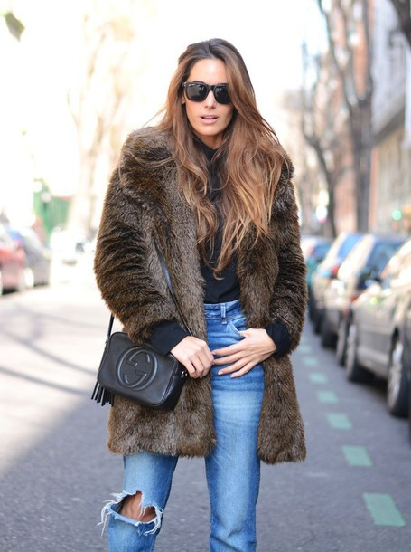 stella wants to die blogger gucci bag fur coat ripped jeans