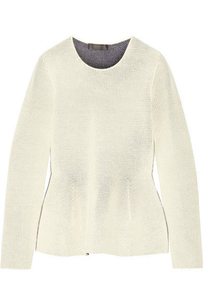 Calvin Klein Collection - Open-knit Peplum Sweater - Cream