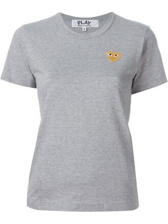 t-shirt shirt heart embroidered grey top