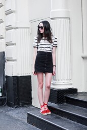 the glam files,blogger,sunglasses,jewels,skirt,bag,shoes,striped top,stripes,high waisted skirt,black skirt,mini skirt,wedges,lace up,button up,button up skirt,short sleeve,espadrilles,red shoes,flats,red sandals,sandals,flat sandals,summer outfits