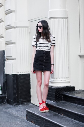 the glam files blogger sunglasses jewels skirt bag shoes striped top stripes high waisted skirt black skirt mini skirt wedges lace up button up button up skirt short sleeve espadrilles red shoes flats red sandals sandals flat sandals summer outfits