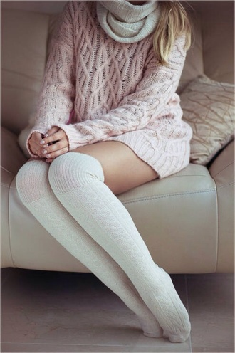 sweater pink long sweater winter outfits socks crochet lace up scarf nude hot style classy hug knee high socks knitwear knitted scarf knitted sweater high socks pink light winter sweater fashion white long stockings comfy
