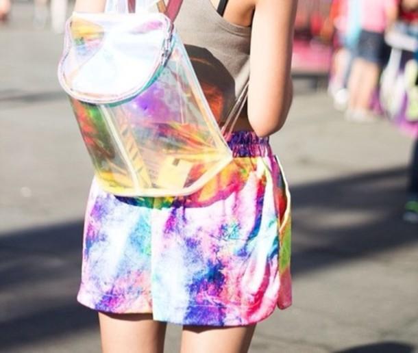 bag transparent  bag see through backpack cute clear holographic shorts pants pants transparent  bag rainbow print rainbow tie dye tie dye shirt girl model tumblr fashion chrome