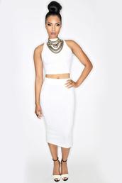 dress,white,two-piece,skirt,long white pencil skirt,white sleeveless crop top,white dress,bodycon dress,midi skirt