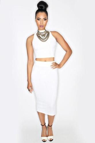 dress white two-piece skirt long white pencil skirt white sleeveless crop top white dress bodycon dress midi skirt