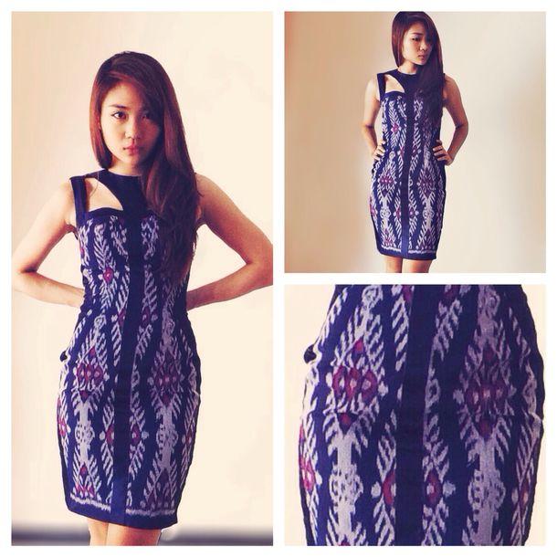 Dress: Blue, Black, Mini Dress, Ikat, Batik, Tribal