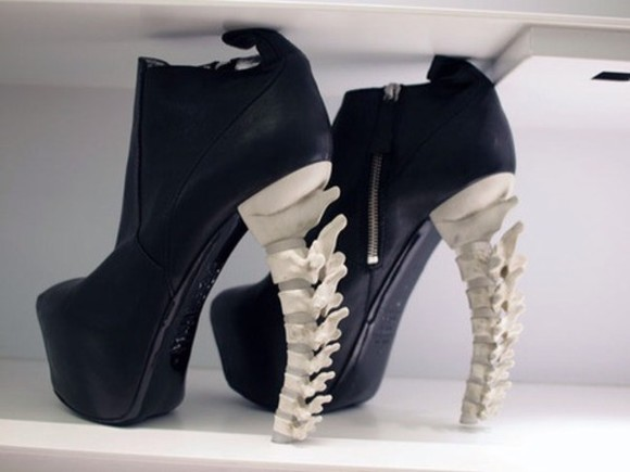 shoes black zip gold zipper boots shoe skeleton spine scary goth gothic grunge
