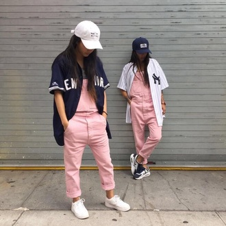pants jacket jumpsuit hat pink fashion overalls jeans light pink dope dope wishlist urban cap nike yankees yankees jersey denim overalls dungarees hot pink pants pink overalls