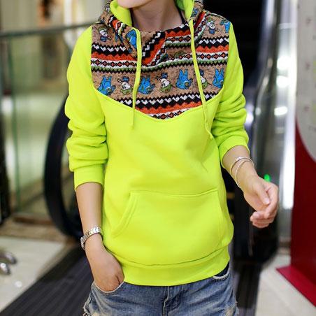 [grxjy560449]Leisure Folk Style Cartoon Figure Floral Print Hood Sweatshirt on Luulla