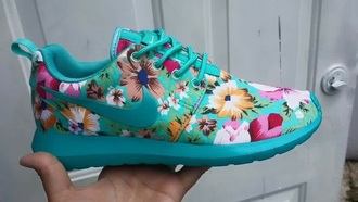 shoes blue nike flowers pink and orange