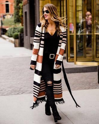cardigan tumblr long cardigan stripes striped cardigan denim jeans black jeans ripped jeans top black top sunglasses boots black boots