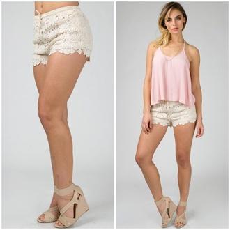 shorts crochet taupe tan lace style fashion drawstring shorts