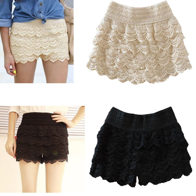 Fashion Girl Womens Korean Cute Crochet Tiered Lace Shorts Skorts Short Pants J