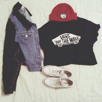 jacket shirt t-shirt beanie black red leather denim jacket vans crop  white convers vans denim chuck taylor all stars converse hipster vans of the wall