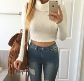 sweater,turtleneck,shirt,white,white top,cropped sweater,cowl neck,cream sweater