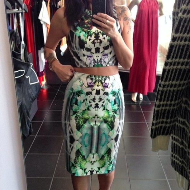 Skirt: patterned skirt, pencil skirt, shirt, midi, midi skirt, top ...