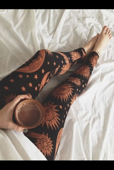 pants leggings printed leggings moon stars