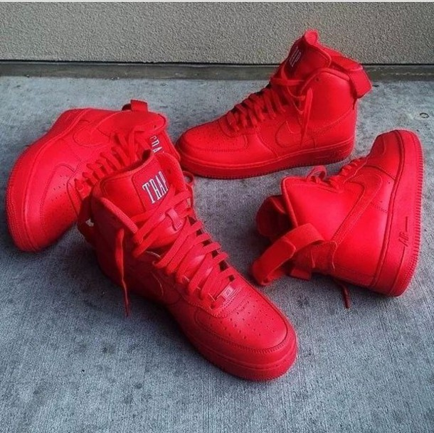 shoes youth sizes all red air force ones all red red nike high tops nike nike aire force nike air force 1 high top sneakers high top nikes youth