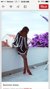 boho chic,no shoulders,black and white dress,dress,black and white dress summer,black,white,long sleeves,short