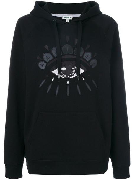 Kenzo hoodie women cotton black sweater