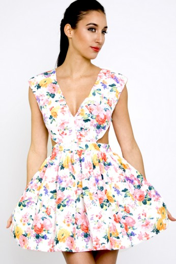 Sonic Fields Cut Out Dress- Floral Cut Dress- $58