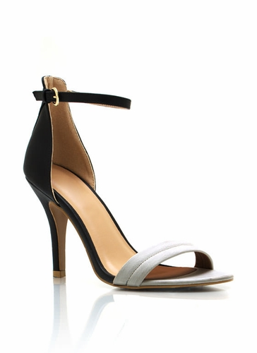 GJ | Single-Sole Ankle Strap Heels $21.80 in BLACK BLUE BURGUNDY GOLD NUDE SILVER WHITEBLACK - Meshin' Around | GoJane.com