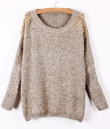 Apricot batwing sleeve rivet shoulders loose sweater
