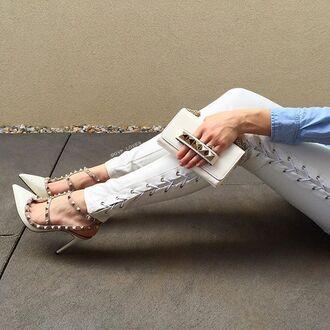 leggings maniere de voir pants leather tie side lace up zipped valentino