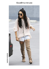 sweater,ripped shorts,knitted sweater,cable knit,suede boots,thigh high boots,boho,vanessa hudgens,celebstyle for less,black sunglasses,round sunglasses,shorts,shoes,sunglasses,jewels