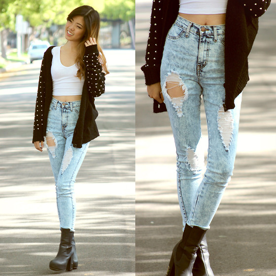 Daily Look High Waist Acid Wash Jeans, Lulus Spiked Cardigan - Easy Going - Eunice S | LOOKBOOK
